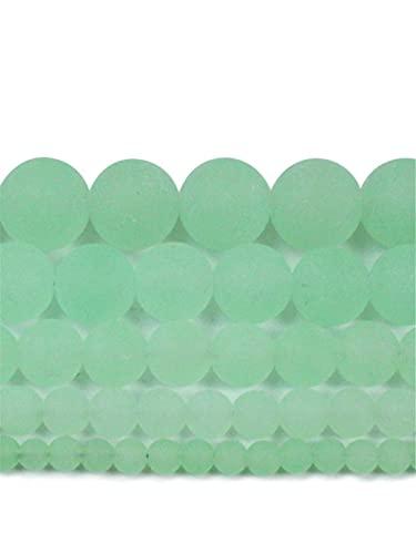 Cuentas sueltas redondas de piedra natural mate mate mate para hacer joyas DIY pulsera de 15 pulgadas hebra 4-12 mm verde 6 mm aproximadamente 63 cuentas