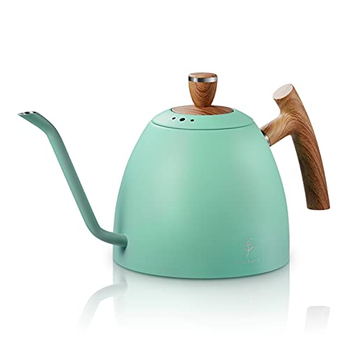 YONGLI 1.5L Coffee Kettle Water Tea Pot Pour over Coffee Kettle Drip Kettle Gooseneck Stainless Stell with Wooden Handle (Color : Green)