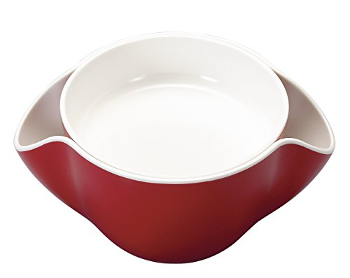 Kody Double Dish for Pistachios, Peanuts, Edamame, Cherries, Nuts, Fruits, Candies, Snacks Plastic Serving Dishes and Bowls (Cherry Red)