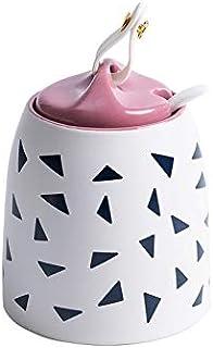 SMEJS Bouteille d'assaisonnement en céramique avec boîte à épices cuillère , Outil de Cuisine pour Organisateur de Rangeme...