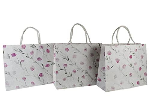 Eco Bags Bolsas de Regalo Hecho a Mano Extra Grande Buganvilla - Pack de 3 (38cm x 46cm x 16cm)