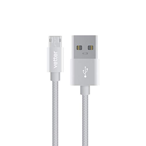 Vetter Reversible Micro USB Kabel Datenkabel Nylonbeschichtet Grau 1M, Kompatibel mit Samsung Galaxy S2 S3 S4 S6 S6 Edge S7 S7 Edge A3 (2016), A5 (2016) und Anderen Android Micro USB-Anschlüssen