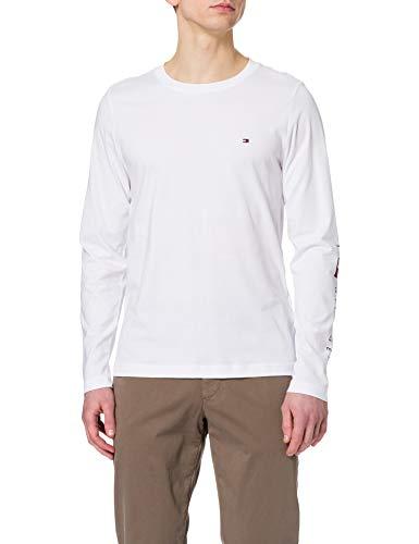 Tommy Hilfiger Herren Essential Tommy LS Tee T-Shirt, weiß, XL