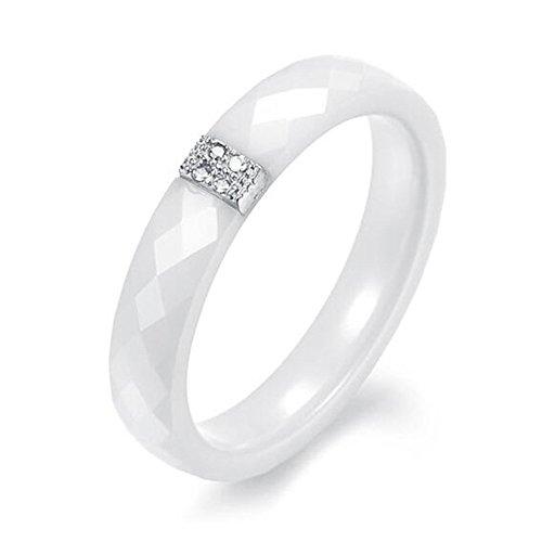Beauty7 - Elegant Pure Weiss Keramik Ring Mit Silbrige Plated Platimum-Keramik und Platinum-Fuer Damen und Herren-Weiss-Groesse 6/7/8/9 (60 (19.1))