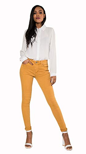 Crazy Age Farbige Damen Jeans Push Up Jeanshose Skinny Elastisch Top Qualität (Senf, M~36)