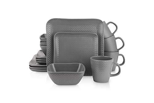 Stone Lain 16 Piece Stoneware Square Weave Dinnerware Set, Service for 4, Gray
