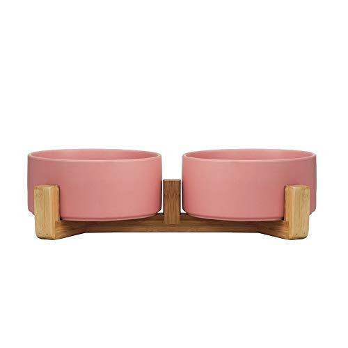 HCHLQLZ Pink Keramik Hundenapf Futternapf Fressnapf Napf für Hund Katzen mit Massivholz Ständer(2 Stück)
