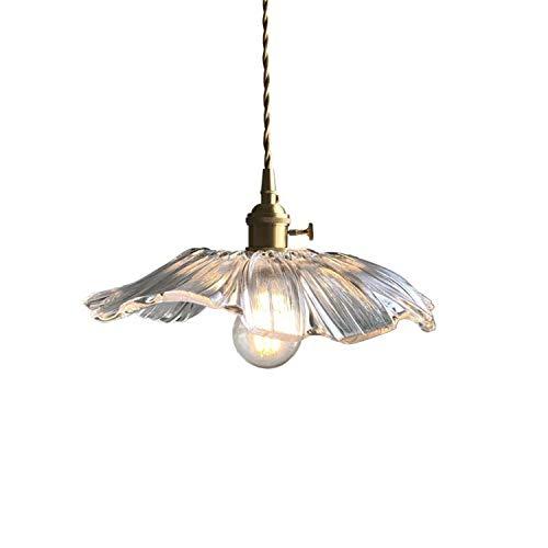 Lywins Lámpara colgante E27 de cristal de loto, moderna, dorada, estilo nórdico, para comedor, cocina, salón