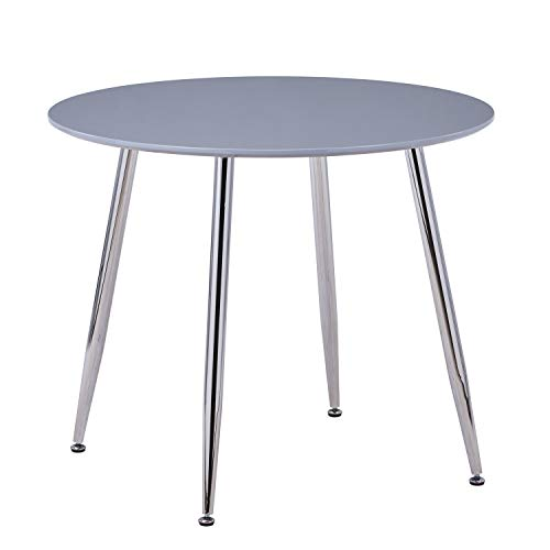 GOLDFAN Round Dining Table Morden High Gloss Kitchen Table with Chrome-plated Legs for Dining Room, Grey (Table Only)