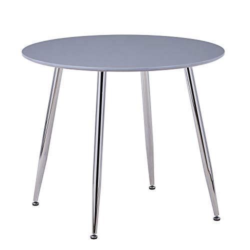 GOLDFAN 80 cm Esstisch Rund Moderner Hochglanz Küche Runder Wohnzimmertisch Verchromte Beine für Esszimmer Büro, Grau