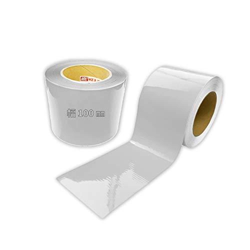 コンクリート用反射テープ 幅100mm×長さ1Mから10Mまで プライマー不要で直貼り可能 (長さ5M, 白)