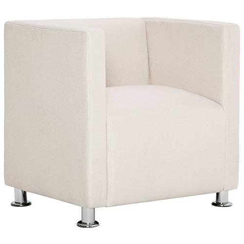 Festnight Sillón en Forma de Cubo de Tela Sillon Butaca para Dormitorio, Salon o Habitacion Color Crema 69 x 54 x 71 cm