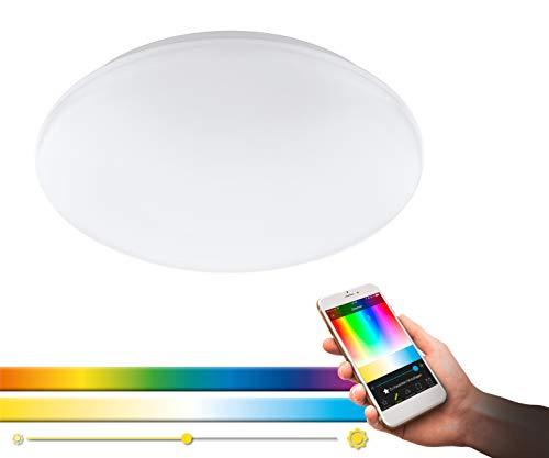 EGLO connect LED Deckenleuchte Giron-C, Smart Home Deckenlampe, Wandlampe aus Stahl, Kunststoff, Farbe: weiß, Ø: 30 cm, dimmbar, weißtöne und Farben einstellbar
