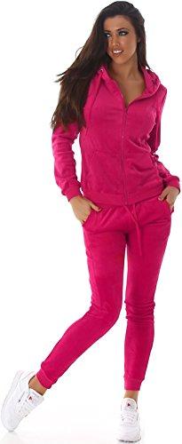 Jela London Damen Velours Jogginganzug Nicki Samt Hausanzug Jacke Kapuze & Hose, Pink L