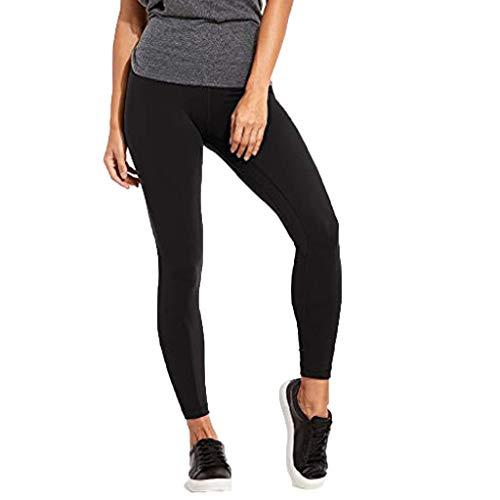 MOTOCO Damen Hohe Taille Sport Leggings Damen Strumpfhosen Klassische Schwarze Stretch Fitness Hose Größe 32-40(M(36),Schwarz)