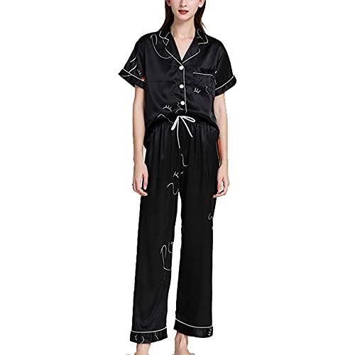 tmtonmoon Damen Schlafanzug Pyjama Set Kurz Satin Nachtwäsche Loungewear Hausanzug Sleepwear Oberteil Hose mit Taschen für Frauen, Farbe: O, Size M