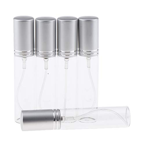 B Blesiya 5 x 10 ml Vide Mini Bouteille de Parfum Verre Rechargeable Vaporisateur de Parfum avec Graduation pour Voyages - Argent mat
