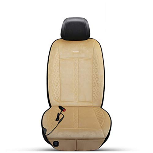 Car Heating Cushion, Winter Single Seat Car Electric Heating Modified Plush Cushion, 12V Heating And Warm Cushion (Color : Beige)