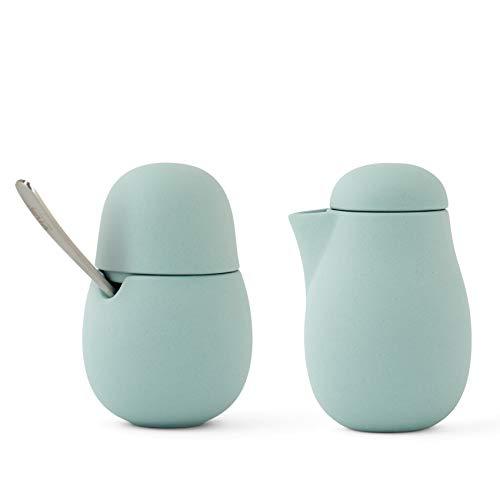 Milchkännchen & Zuckerdosen-2er Set für Kaffee und Tee aus Porzellan mit Edelstahl-Löffel, Matt Grün