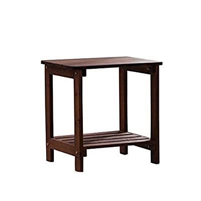 B&Z KD-50N Outdoor Porch Wooden Side Table Rectangular Rustic with Storage Brown