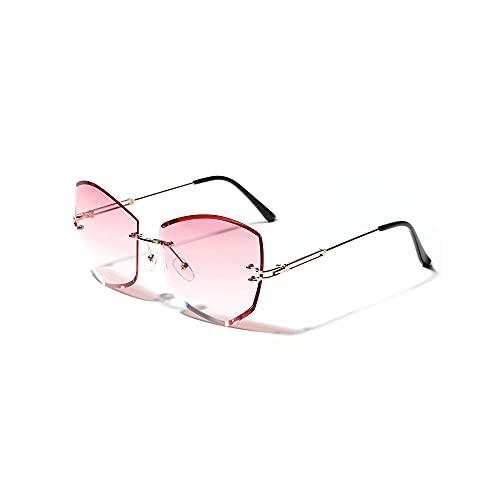 Gafas de Sol Para Mujer, Rosa, Sin Bordes, Poligonal, Con Corte de Diamante, Lentes Transparentes-B