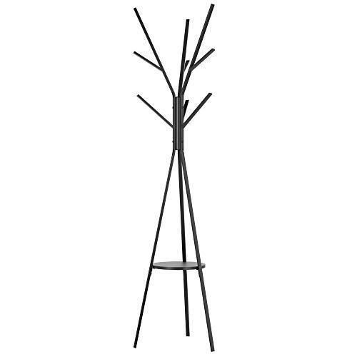 Homfa 180cm Garderobenständer Gaderobe Kleiderständer freistehende Garderobe in Baumform mit 9 Haken und 1 Ablagen Schwarz 180x43.5x43.5cm
