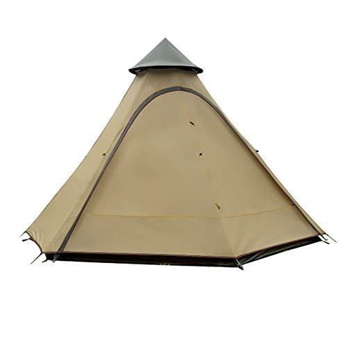 QinWenYan Tiendas de Campaña Tienda India Al Aire Libre del Viento Tipo Resistente Camping Canopy Nueva Torre Pergola Carpa Carpas de Marco (Color : Brown, Size : 3-4 Persons)