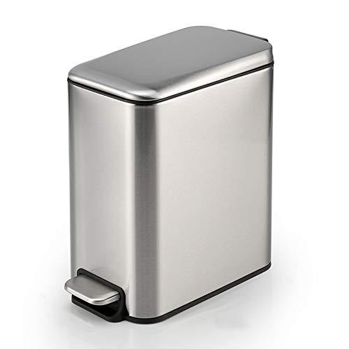 Cubos de Basura Bote de basura estrecha de acero inoxidable Tipo de pedal de papel con cubierta, 5 l / 1.3 galones de bote de basura for baño, sala de estar y espacios estrechos bote de basura