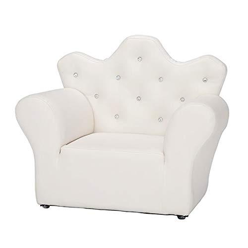 Mini sofá de PVC de esponja para niños, sofá infantil, sillón, sillón, sillón, silla para niños, asiento de sala de juegos, estilo princesa, 23 x 15 x 19 pulgadas, color blanco brillante