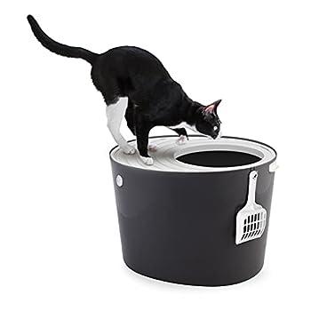 Iris Ohyama, Maison de toilette pour chat avec couvercle à rainures, entrée par le haut et pelle - Top Entry Cat Litter Box - PUNT-530, plastique, gris, 53 x 41 x 37 cm