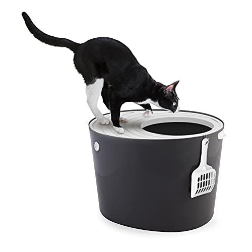Iris Ohyama PUNT-530 Top Entry Cat Litter Box - Lettiera per gatti scanalata, Entrata superiore e pala, Plastica, Grigio, 53 x 41 x 37 cm