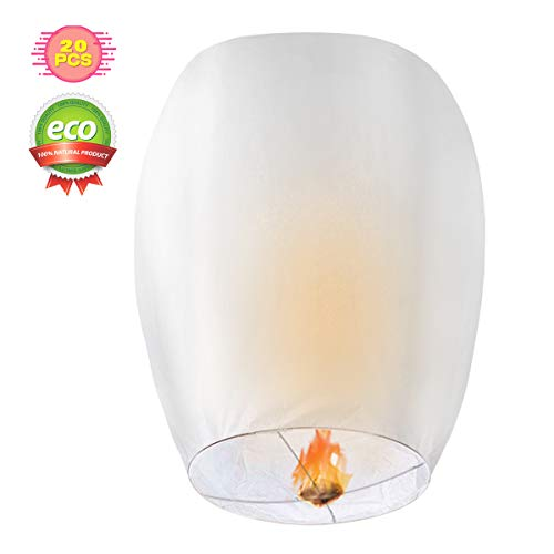 CAMTOA Chinese Lantern, 20 PCS Eco-Friendly Paper Lantern, 100% Biodegradable, Chinese Kong Ming Lantern for Wedding, Birthday Party, Christmas Wish, Memorial Ceremony