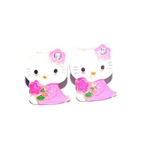 Orecchini da bambina Hello Kitty in PVC con vestito rosa e cristallo chiaro
