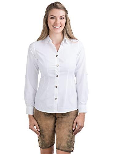 Schöneberger Trachten Couture Trachtenbluse Bergstern - Elegantes, Kariertes Damen Trachtenhemd - tailliert mit Krempelärmel div. Farben (42, Weiss)