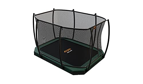SOLO TRAMPOLINO Tappeto elastico interrato rettangolare 305x225cm con rete di sicurezza - verde. Approvato per uso pubblico. Garanzia a vita sul telaio