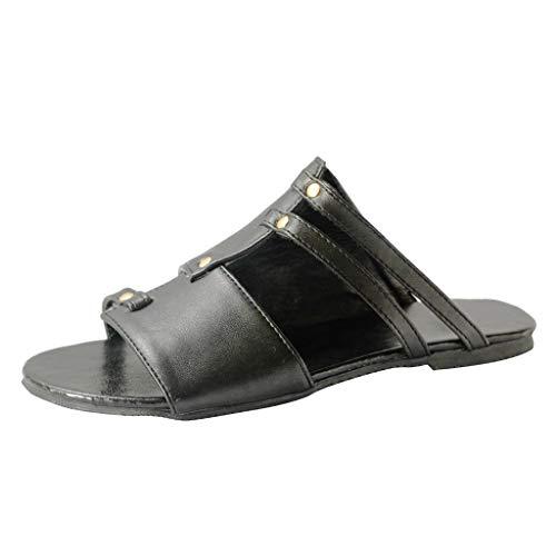 iYmitz Sommer Sandaletten Flache Schuhe der Retro Frauen öffnen Zehe Lederschuhe römische Damen Strand Ohne Verschluss Römersandalen(Grau,EU 41)