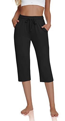 UEU Women's Plus Comfy Drawstring Yoga Capri Pants Loose Workout Sweatpants Wide Leg Lounge Pants Joggers with Pockets(Black,XXL)