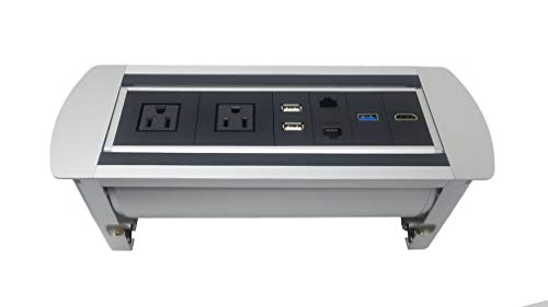 Pwr Plug Connectivity Box Power Hub Module Conference Table in-Desk Media Center 3-USB 1-HDMI 1-Data Grommet UL Listed (Silver - NetBox) (Silver/Black-DC-101-NetBox)