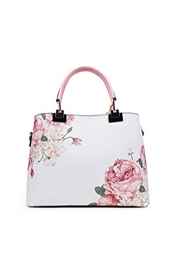 Ulisty Kunstleder Blumenmuster Schultertasche Mode Drucken Handtasche Bote Umhängetasche für Damen/Frauen Rosa