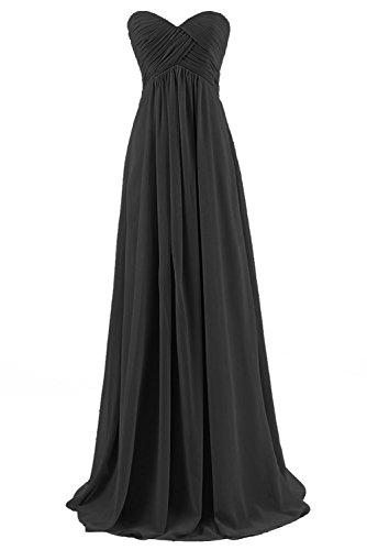 BetterGirl Chiffon Trägerlos Abendkleider Lang Elegant Hochzeit Brautjungfernkleider Ballkleider-schwarz-46