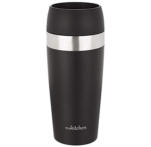 makitchen Thermobecher spülmaschinenfest 420ml, Schwarz | Kaffeebecher für Coffee to go 100% auslaufsicher | Edelstahl Trinkbecher mit Deckel | Isolierbecher doppelwandig Vakuum-isoliert | Travel-Mug