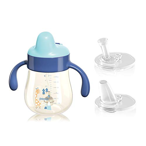 POTATO Weighted Straw Cups For Toddlers Spill Proof, PPSU Sippy Cup with Handles for Boy, Water Bottle for Baby 4 Months with 2 Type of Spout, 6 Ounce Sky Blue