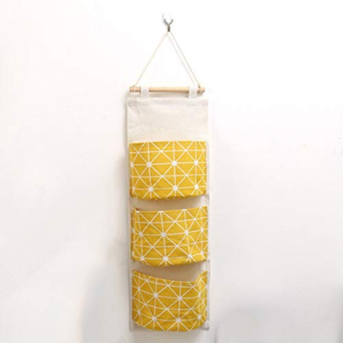 shandianniao Wall Hanging Storage Bag Door Cupboard Organiser Cotton Linen Bag Home Room Decoration(67x20cm) (Color : 4)