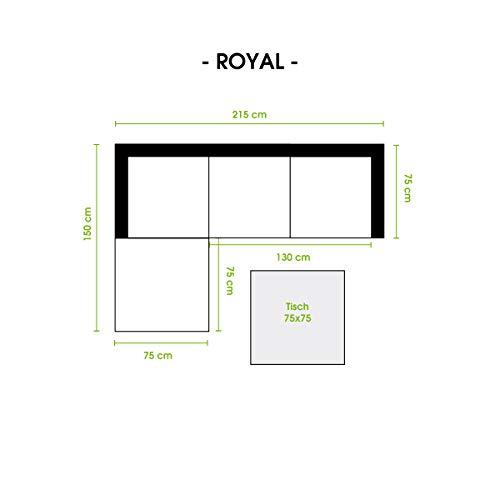BRAST Poly-Rattan Gartenmöbel Lounge Set 15 Modelle 3 Farben 4-12 Personen Aluminium Sitzgruppe ROYAL Grau - 3