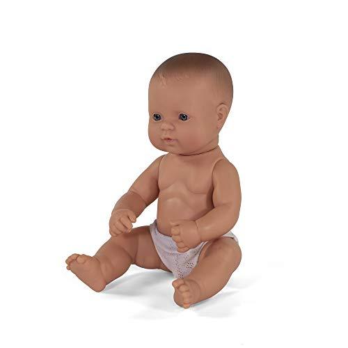 Miniland 31032 – Muñeco bebé Europeo Niño de Vinilo Suave de 32cm con rasgos étnicos y sexuado para el Aprendizaje de la Diversidad con Suave y Agradable Perfume. Colección de Diferentes etnias y sexo