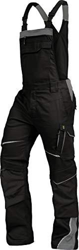 Leib Wächter Flex-Line Arbeitslatzhose Latzhose Premium mit Spandex schwarz-grau Gr.42-68/24-30/90-110 (64)