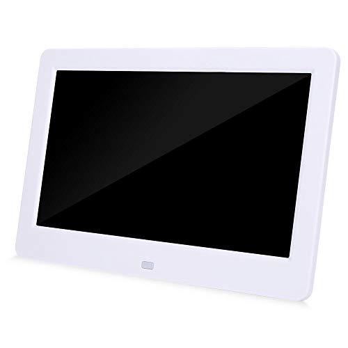 Tosuny Digitaler Bilderrahmen, 10 Zoll Bildschirm 1024X600 16: 9 Musik/Video/eBook/Uhr/Kalender LED-Bilderrahmen MP3 MP4 Player mit Fernbedienung(Weiß)