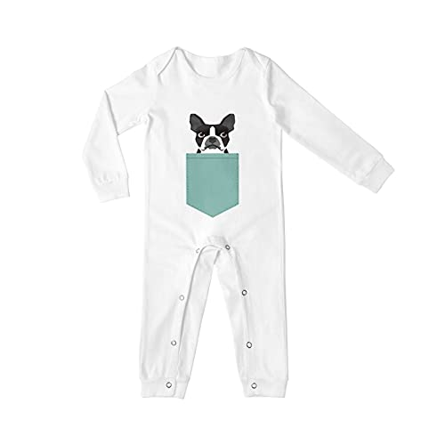 Boston Terrier And French Bulldog Long Sleeves Baby Onesies For Boys Girls Toddler Infant Newborn Bodysuit Outfits