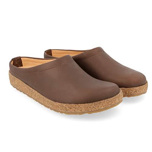 HAFLINGER Unisex Phillip Premium Leather Indoor/Outdoor Clogs Smokey Brown 758 US Women