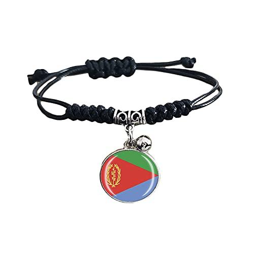 Pulsera trenzada de la bandera de Eritrea con cadena de nailon ajustable, pulsera de cristal, pulsera hecha a mano para hombre y mujer